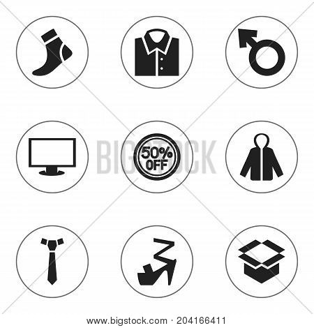 Set Of 9 Editable Business Icons. Includes Symbols Such As Necktie, Stiletto, Blouse And More