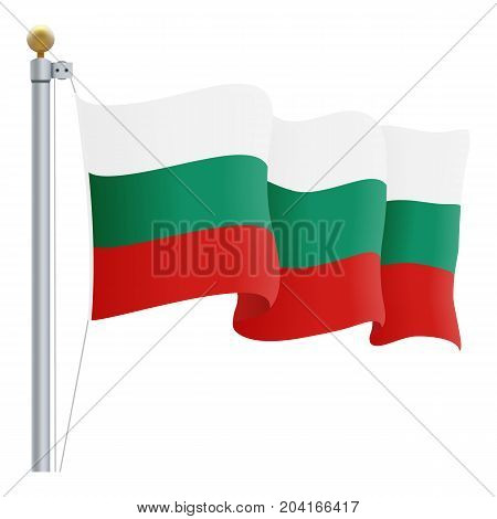 Waving Bulgaria Flag Isolated On A White Background. Vector Illustration. Official Colors And Proportion. Independence Day