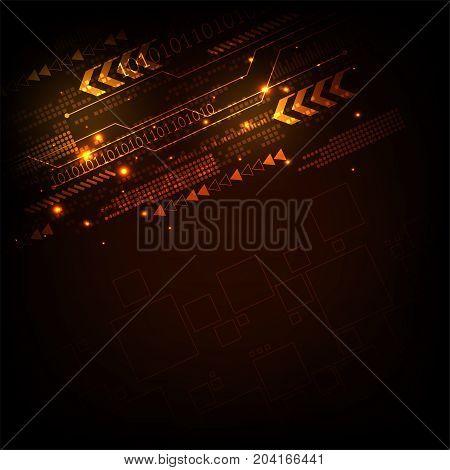Vector digital technology concept on a dark orange background.