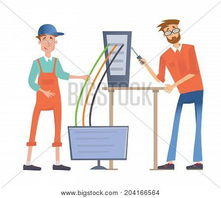 Two men a computer or connect it to the network. Service repair of computers. Vector illustration, isolated on white background.