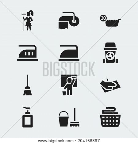 Set Of 12 Editable Cleanup Icons. Includes Symbols Such As Cleaning Man, Working At Home, Broomstick And More