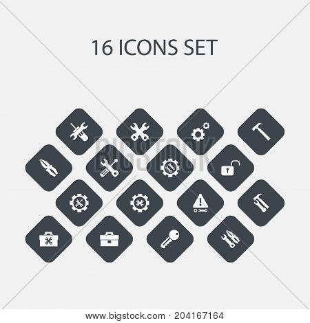 Set Of 16 Editable Toolkit Icons. Includes Symbols Such As Fixing Equipment, Fix Tool, Caution And More