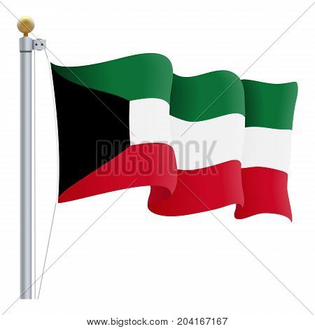 Waving Kuwait Flag Isolated On A White Background. Vector Illustration. Official Colors And Proportion. Independence Day