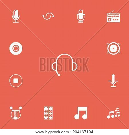 Set Of 13 Editable Music Icons. Includes Symbols Such As Musical Symbol, Mixing, Radio Mike And More