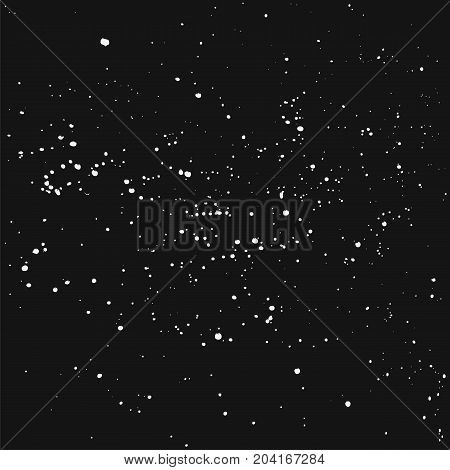 Vector splashes of white ink on a black background. Elements for design. Abstraction. Beautiful night.