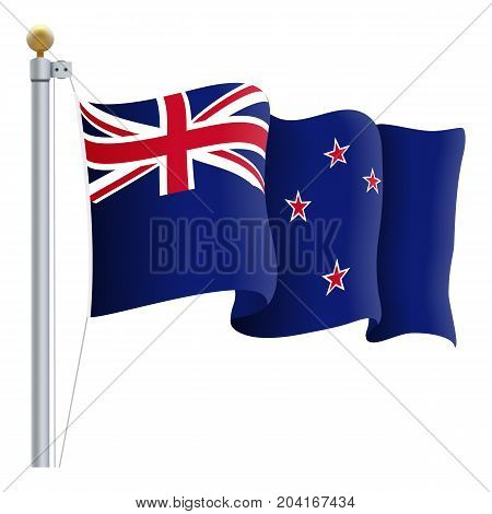 Waving New Zealand Flag Isolated On A White Background. Vector Illustration. Official Colors And Proportion. Independence Day