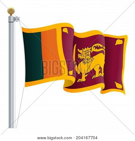 Waving Sri Lanka Flag Isolated On A White Background. Vector Illustration. Official Colors And Proportion. Independence Day