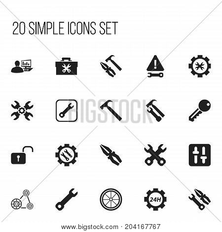 Set Of 20 Editable Repair Icons. Includes Symbols Such As Warning, Support Center, Cambelt And More