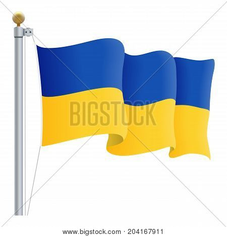Waving Ukraine Flag Isolated On A White Background. Vector Illustration. Official Colors And Proportion. Independence Day