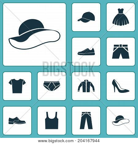 Clothes Icons Set. Collection Of Sarafan, Elegance, Heel Footwear And Other Elements
