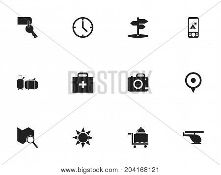 Set Of 12 Editable Trip Icons. Includes Symbols Such As Chopper, Doctor Case, Location And More