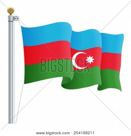 Waving Azerbaijan Flag Isolated On A White Background. Vector Illustration. Official Colors And Proportion. Independence Day