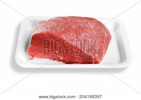 Pack meat beef veal plastic pork isolated