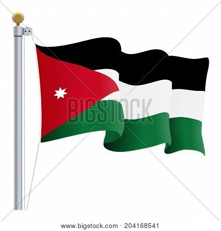 Waving Jordan Flag Isolated On A White Background. Vector Illustration. Official Colors And Proportion. Independence Day