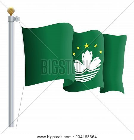Waving Macau Flag Isolated On A White Background. Vector Illustration. Official Colors And Proportion. Independence Day