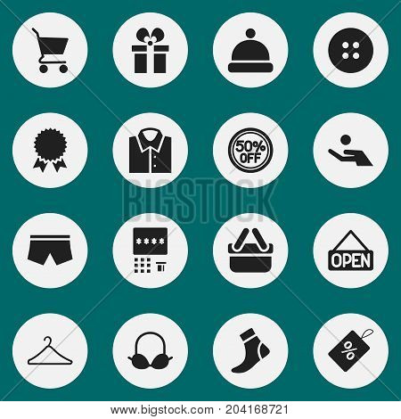 Set Of 16 Editable Business Icons. Includes Symbols Such As Brassiere, Rebate, Headgear And More