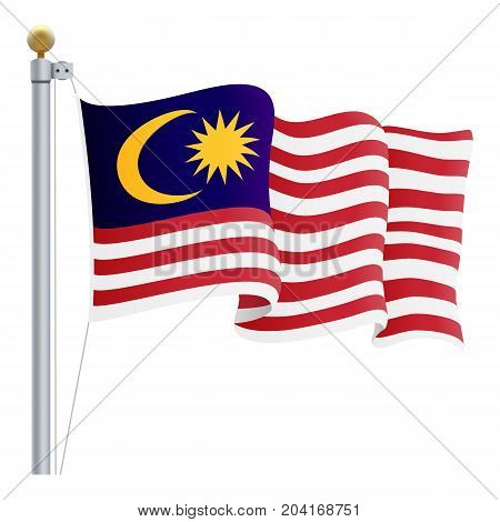 Waving Malaysia Flag Isolated On A White Background. Vector Illustration. Official Colors And Proportion. Independence Day
