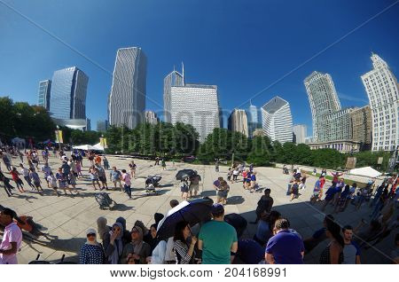Chicago, IL, United States - September 3, 2017: Cloud Gate in Chicago's Millennium Park.