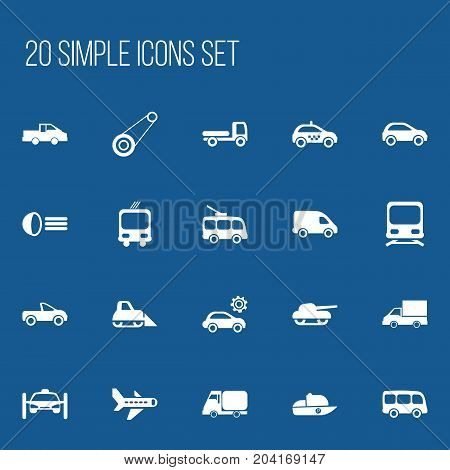 Set Of 20 Editable Shipment Icons. Includes Symbols Such As Hatchback, Garage, Drophead Coupe And More