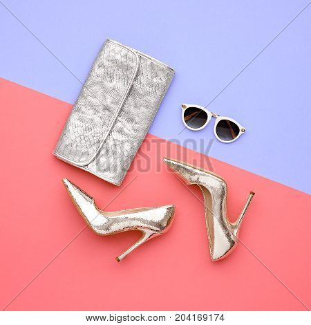 Minimal. Bright Art Creative Style. Glamor fashion shoes Heels. Trendy Sunglasses fashionable Woman Handbag Clutch. Luxury Shiny Party lady.