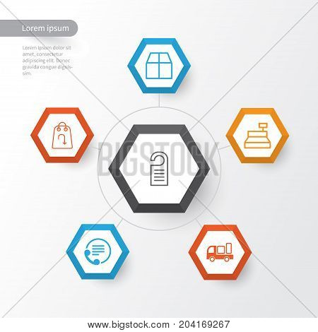 E-Commerce Icons Set. Collection Of Cardboard, Telephone, Price And Other Elements