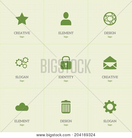 Set Of 9 Editable Internet Icons. Includes Symbols Such As Sky, Settings, Security And More