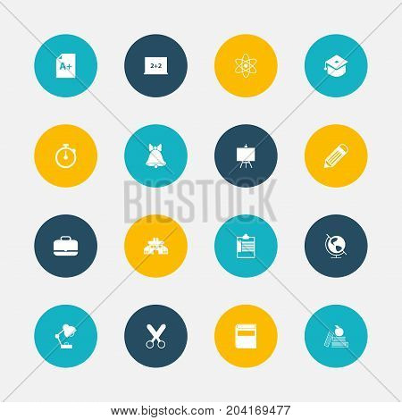 Set Of 16 Editable School Icons. Includes Symbols Such As Literature, Timer, Lighting And More