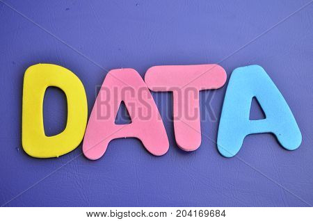WORD DATA ON A  ABSTRACT BLUE BACKGROUND