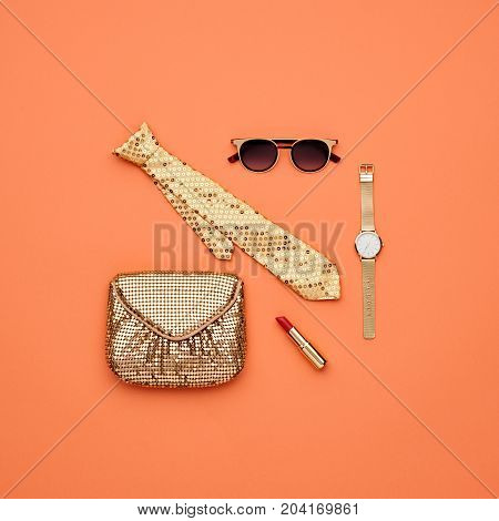Fashion Accessories Set. Pastel Colors. Cosmetic Makeup. Glamor fashionable Woman Gold Handbag Clutch, Trendy Design fashion Sunglasses. Luxury Shiny Party lady. Creative Urban. Art. Minimal