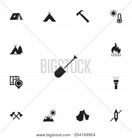 Set Of 13 Editable Camping Icons. Includes Symbols Such As Handle Hit, Blaze , Shelter