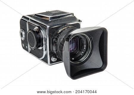old camera medium format on a white underground