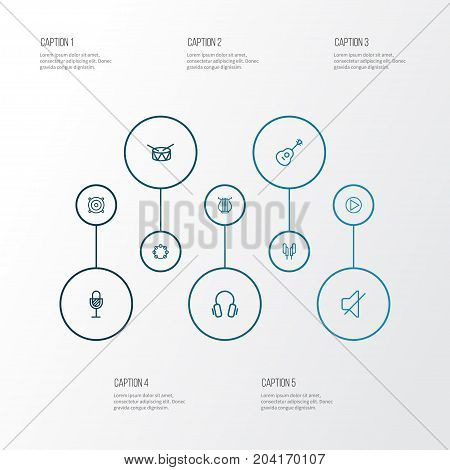 Audio Outline Icons Set. Collection Of Timbrel, Earphones, Headphones And Other Elements