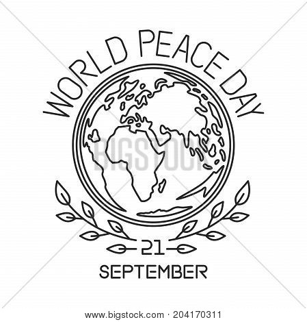 World Peace Day line logo design. International Day of Peace. September 21. Vector illustration