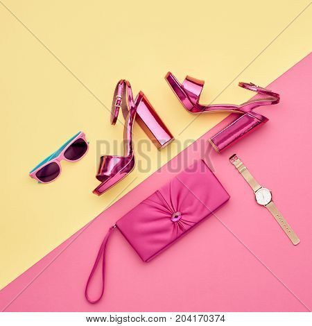 Fashion Accessories Set. Minimal. Glamor fashion Metallic Pink shoes Heels. Trendy Sunglasses fashionable Handbag Clutch. Luxury Shiny Party lady. Pastel Art Colorful Style.