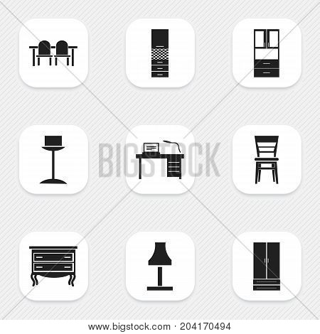 Set Of 9 Editable Furniture Icons. Includes Symbols Such As Interior, Wardrobe, Glim And More