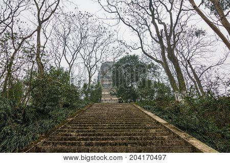 Ladder in Leshan Buddha Park in Leshan, China