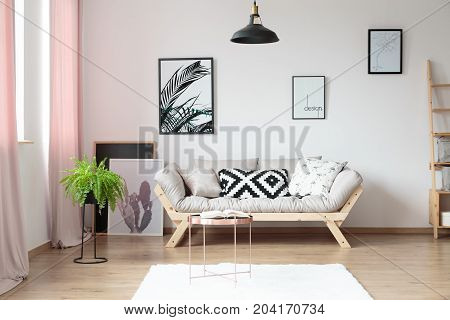 Pillows on beige sofa against wall with posters in simple living room with copper table and fern