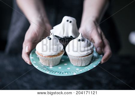 Halloween Cupcakes On Plate