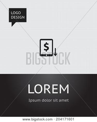 Vector Illustration Of Banking Symbol On Dollar Down Icon