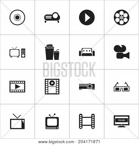 Set Of 16 Editable Movie Icons. Includes Symbols Such As Reel, Play Video, Video And More