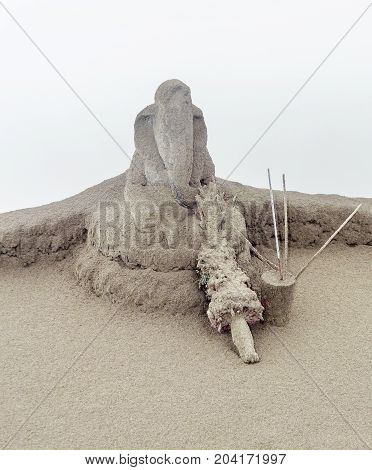 sculpture and sacrifice near a volcano named Mount Bromo located in Java a island of Indonesia