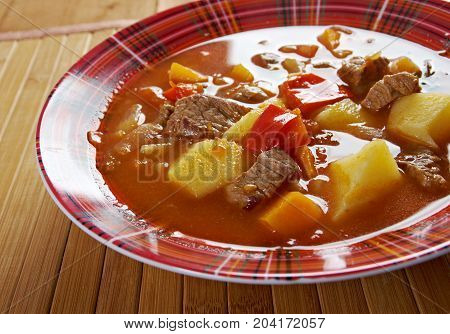 Traditional Bulgarian soup chorba.shurpa soup close up homemade meal