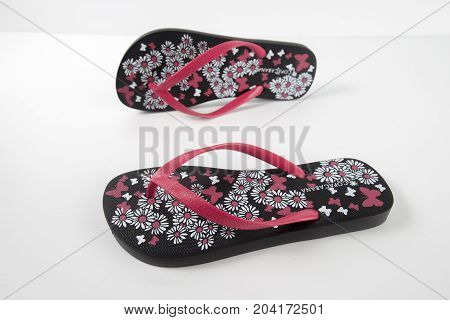 Portugal, June, 2017: CopaCabana Slippers. CopaCabana, Brasil company. Isolated Product. Product shots.