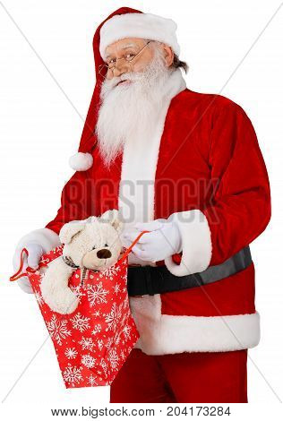 Smiling portrait claus santa santa claus holiday background holiday party