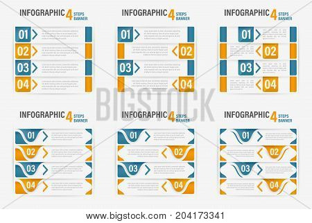 Set of Info-graphic four steps horizontal banner. Can be used for layout workflow or number options. Vector illustration.