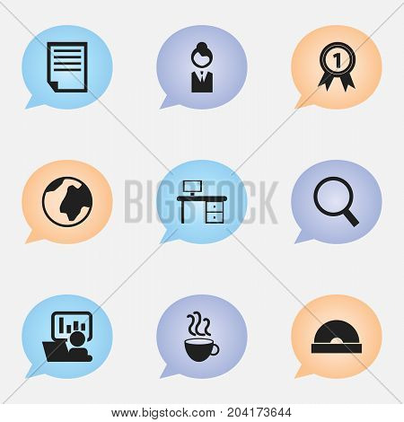 Set Of 9 Editable Bureau Icons. Includes Symbols Such As Publicity, Job Woman, Cup Of Tea And More