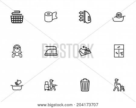 Set Of 12 Editable Cleanup Outline Icons. Includes Symbols Such As Wiping, Worker, Cleaning Window And More