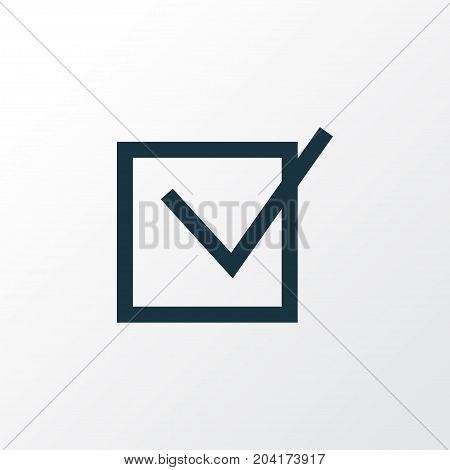 Premium Quality Isolated Task Element In Trendy Style.  Check Outline Symbol.