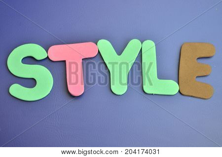 WORD STYLE ON A  ABSTRACT BLUE BACKGROUND