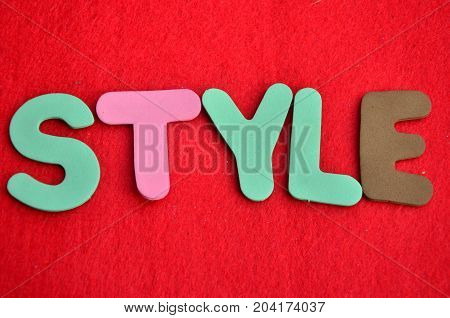 WORD STYLE ON A  ABSTRACT RED BACKGROUND